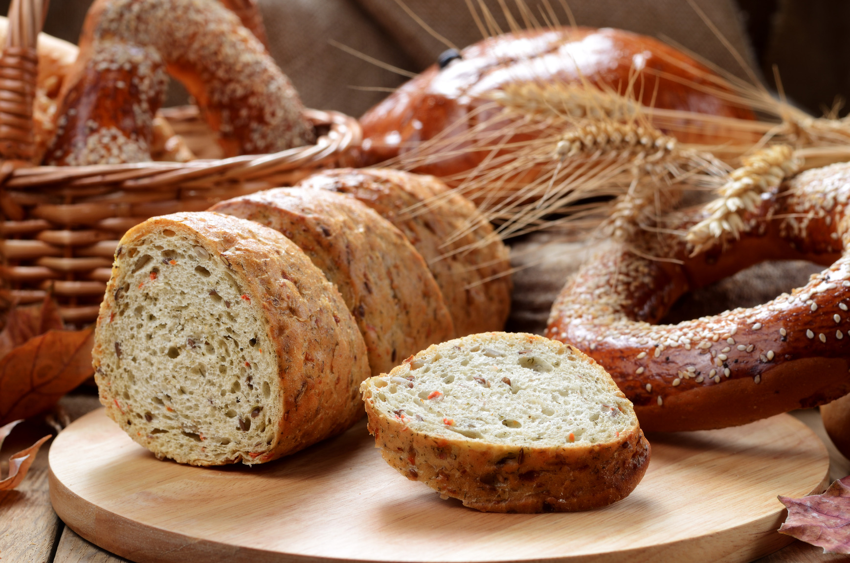 panes variados, ceta, trigo, rosquilla